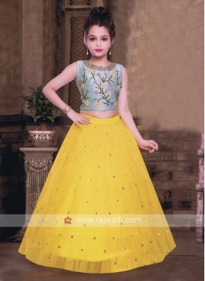 Yellow and sky blue choli suit