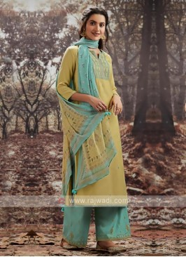 Yellow And Sky Blue Dress Material