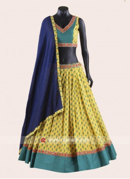 Yellow and Turquoise Blue Chaniya Choli