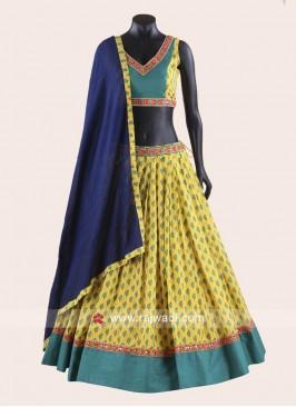Yellow and Turquoise Blue Chaniya Choli