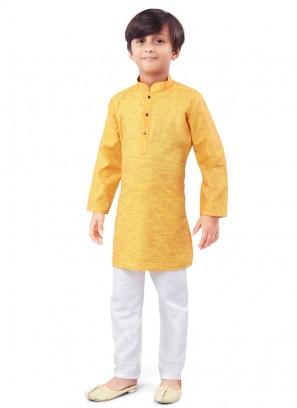 Yellow And White Color Kurta Pajama