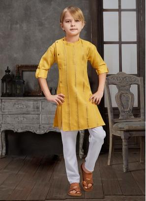 Yellow And White Kurta Pajama For Boy