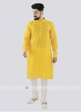 Yellow And Off White Linen Kurta Set