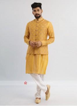 Yellow And White Nehru Jacket Set