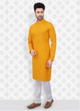 Yellow And White Printed Kurta Pajama
