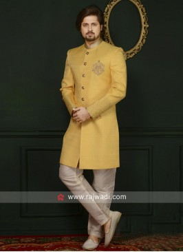 Yellow Art Silk Indo Western