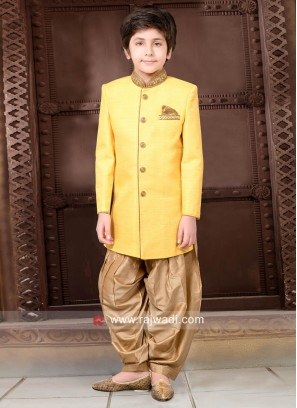 Yellow Art Silk Indo Western for Kids