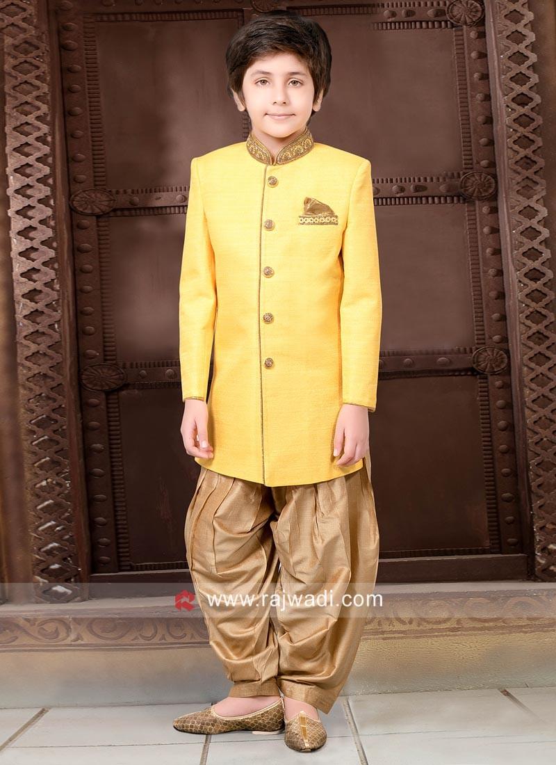 Yellow Art Silk Indo Western for Kids