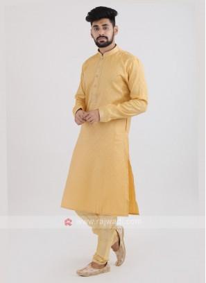 Yellow Art Silk Kurta Pajama