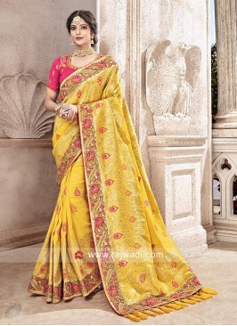 Yellow Banarasi Silk Embroidered Saree