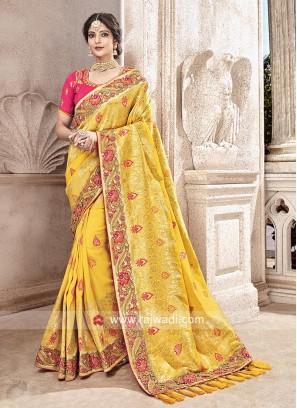 Yellow Banarasi Silk Embroidered Saree