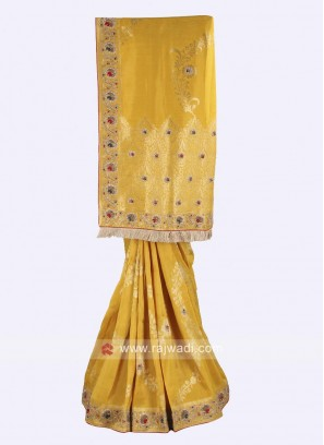 Yellow banarasi silk saree