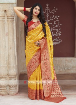 Yellow Banarasi Silk Saree with Weaving Border