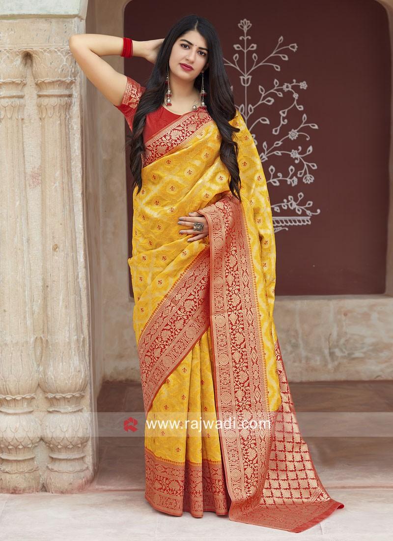 Yellow Banarasi Silk Saree with Weaving Border