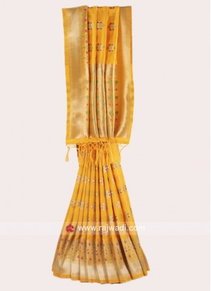 Yellow Banarasi Silk Weaved Saree