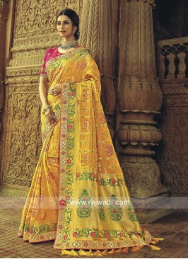 Yellow Banarasi Silk Wedding Saree