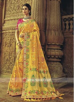 Yellow Banarasi Silk Wedding Saree