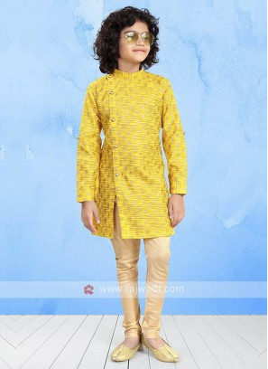 Yellow & Beige Color Kurta Pajama For Boys