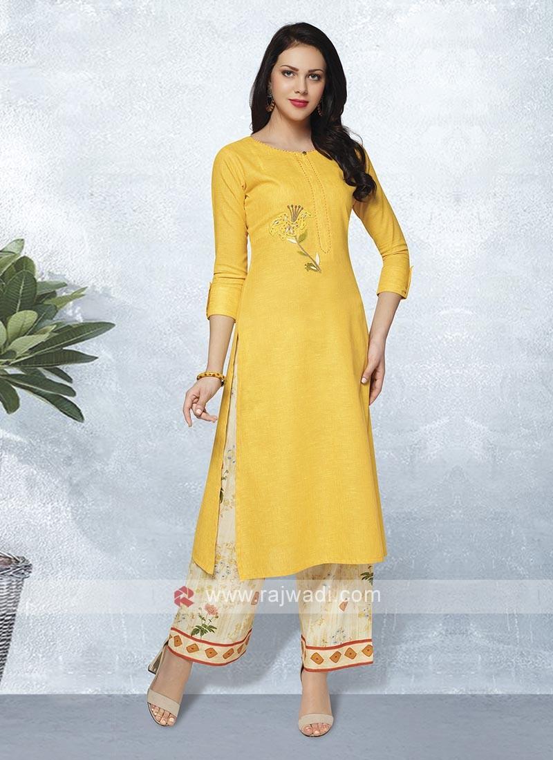 Yellow & Beige Color Kurta Set