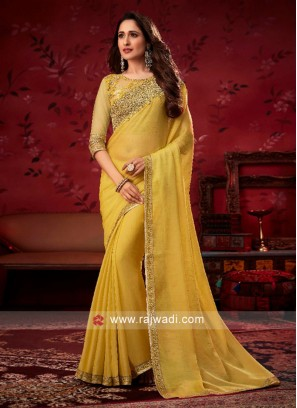 Yellow Border Work Saree