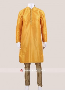 Yellow Brocade Silk Kurta Set