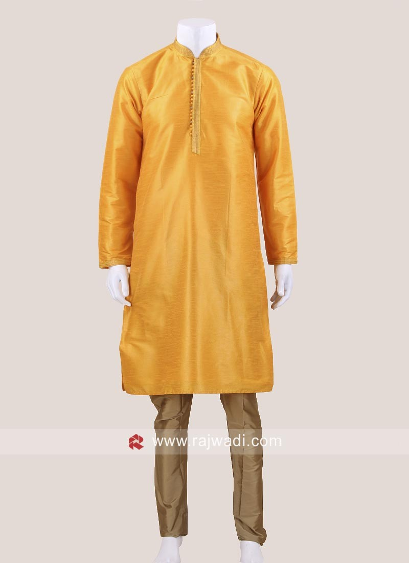 Yellow Brocade Silk Kurta Set