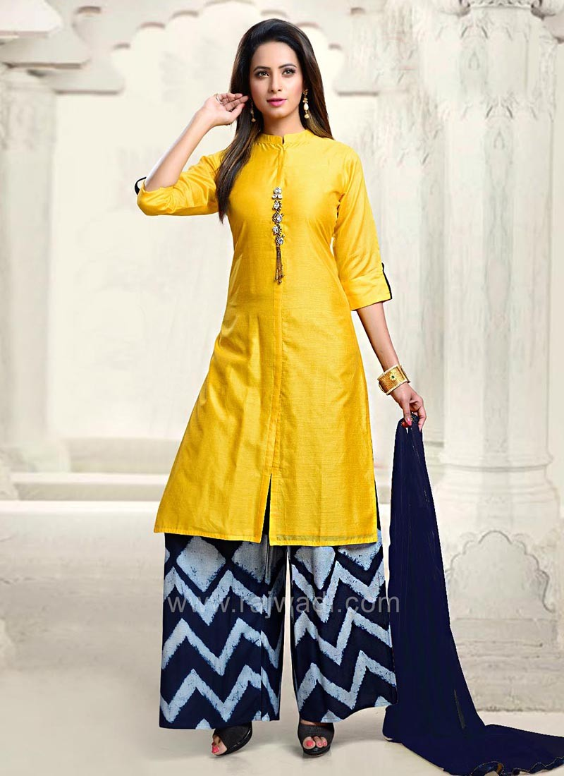 Yellow Casual Palazzo Suit with Dupatta