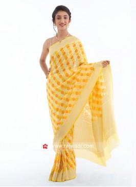 Yellow Chiffon Saree