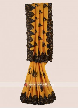 Yellow Chiffon Silk Saree with Cutwork Border