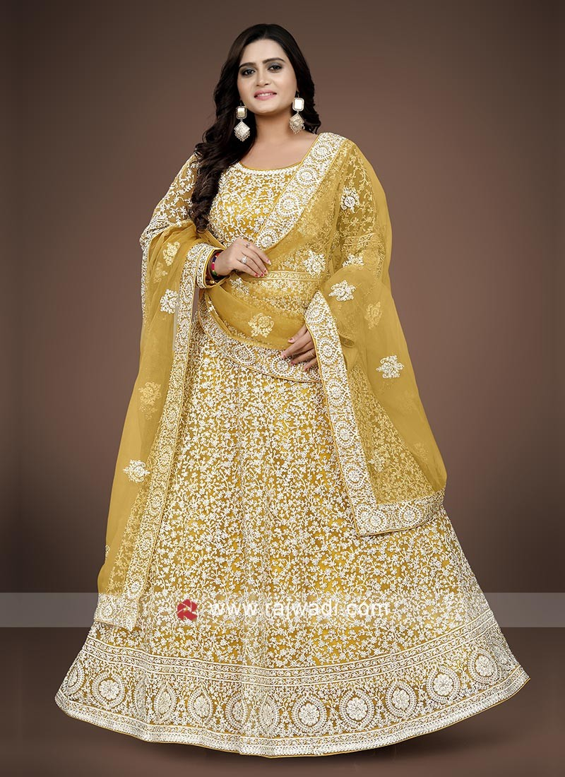 Yellow color anarkali suit  with dupatta