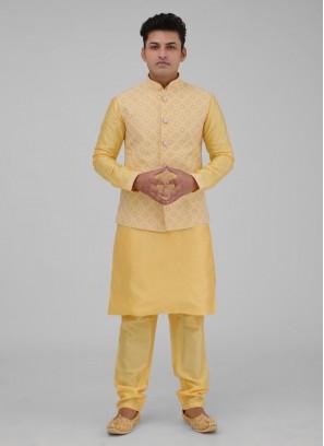 Yellow Color Art Silk Nehru Jacket