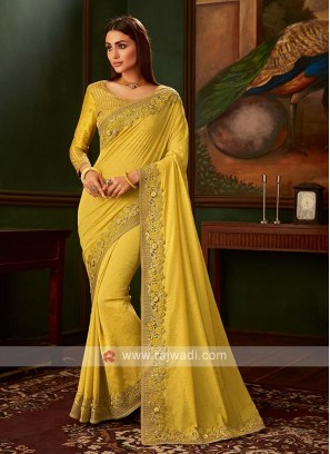 Yellow color art silk saree