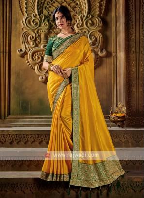 Yellow Color Art Silk Saree