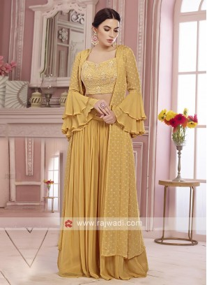 Yellow color chiffion palazzo suit