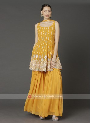 Yellow Color Gharara Suit With Dupatta