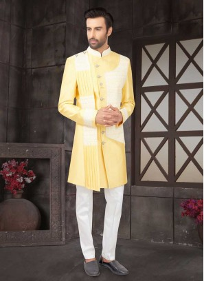 Lucknowi Work Yellow Indo Western For Party