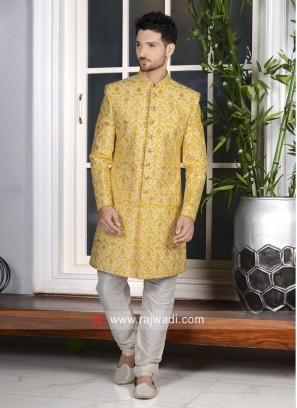 Yellow Color Indo Western For Wedding