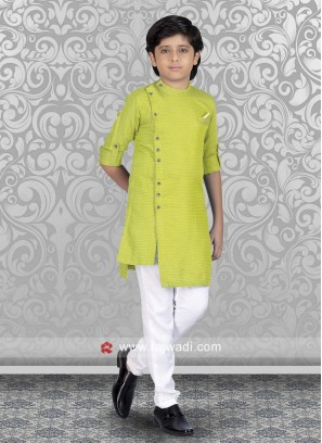 Neon Green Kurta Set For Boys