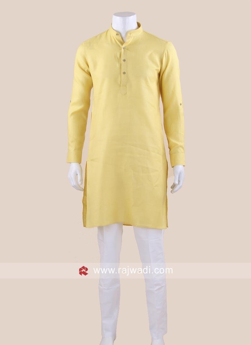 Yellow Color Linen Kurta Set