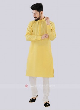Yellow Color Linen Kurta Set