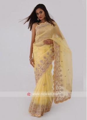 Lemon Yellow Color Net Saree