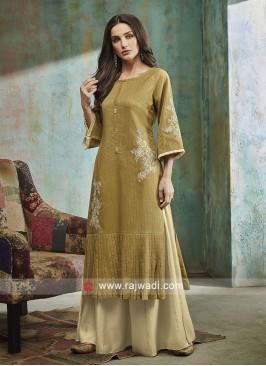 Shagufta yellow color palazzo salwar suit