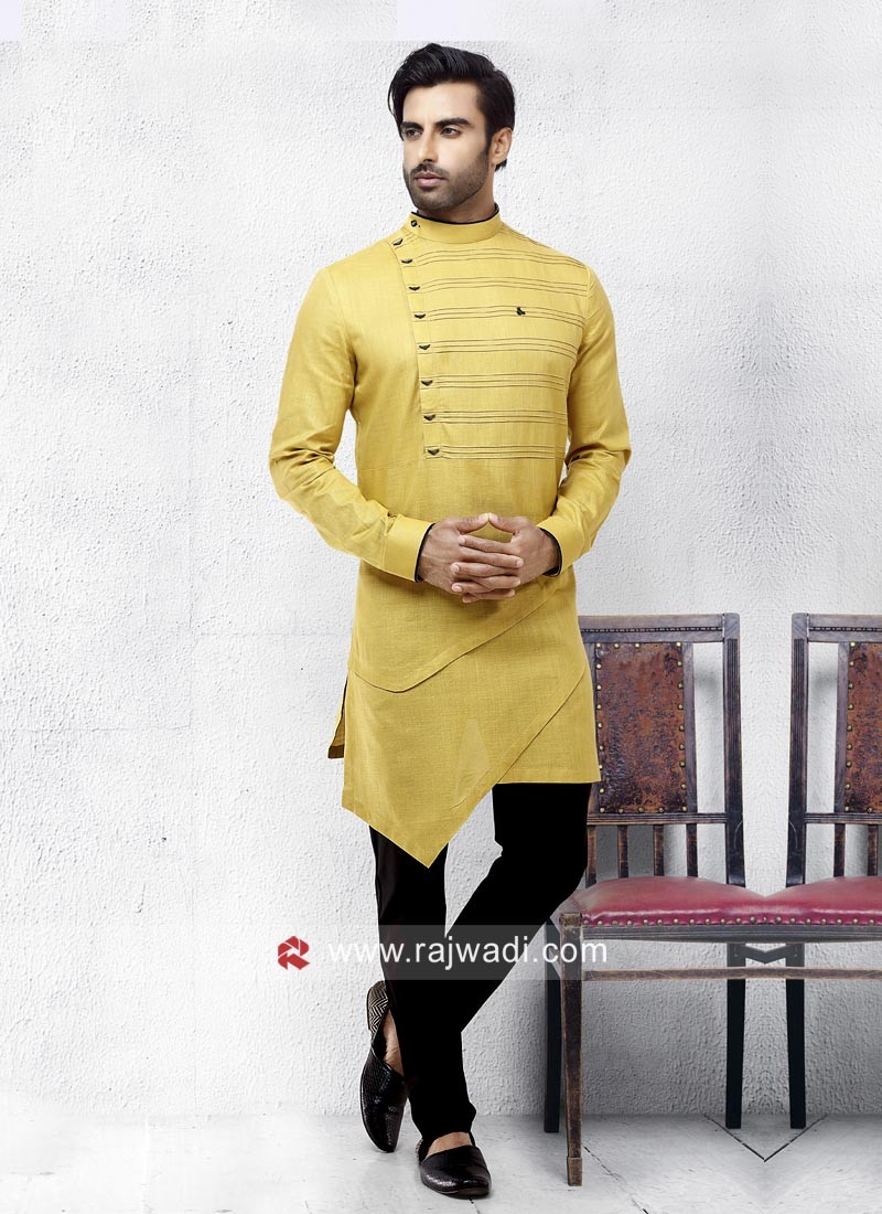 Yellow Color Pathani Set For Eid