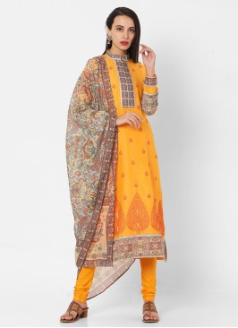 Yellow Color Printed Churidar Suit