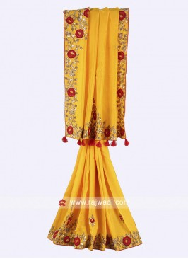 Yellow color pure silk saree