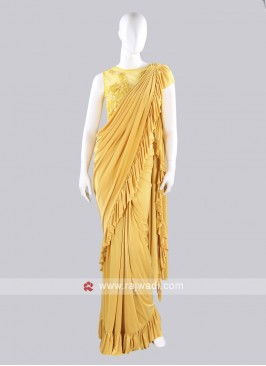 Yellow color ruffle saree