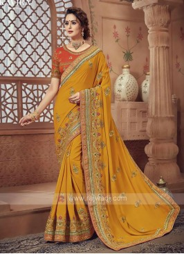 Yellow Color Satin Silk Saree