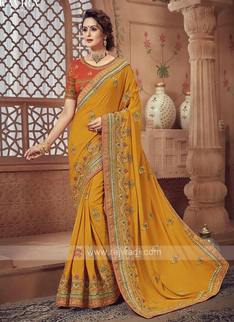 Yellow Color Satin Silk Saree