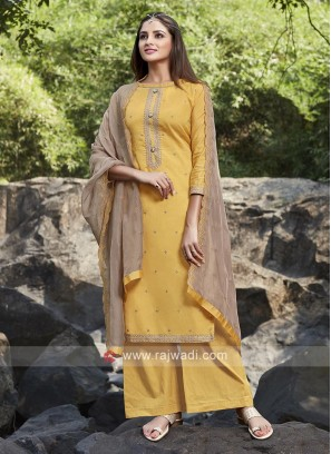 Yellow color silk palazzo suit