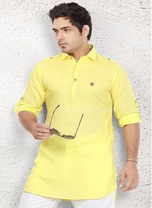 Yellow coloured Party wear Kurta